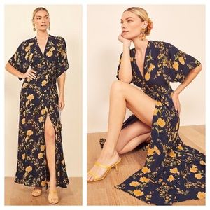 Reformation Winslow Floral Kimono Maxi Wrap Dress